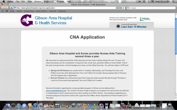 CNA Application Back On-Line