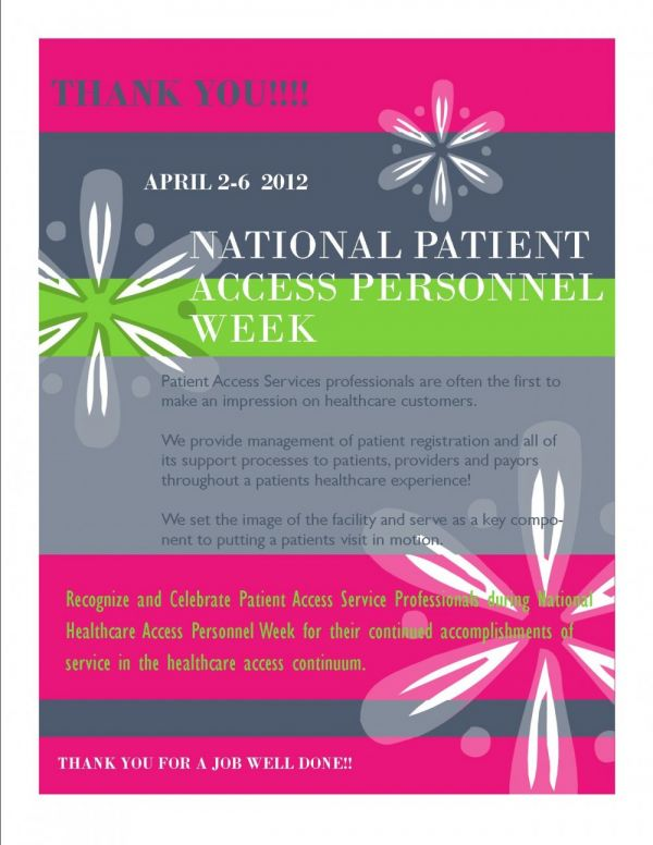 National Patient Access Personnel Week April 2-6