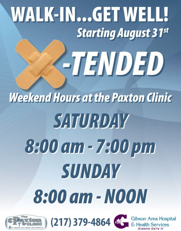 GAHHS Announces Weekend Hours at the Paxton Clinic