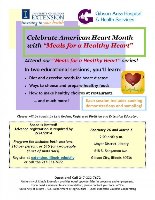 GAHHS and U of I Extension Office Partner Up to Offer Meals for a Healthy Heart