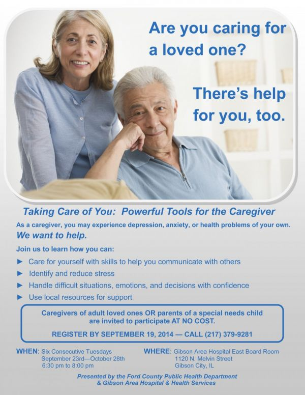 Tools for Caregiver's Class set for September 23, 2014