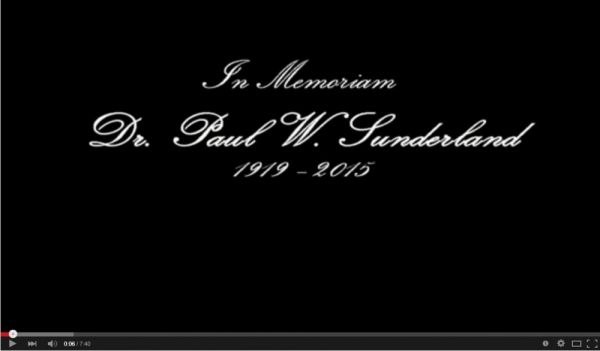 The Eulogy of Dr. Paul Sunderland by Dr. David Hagan
