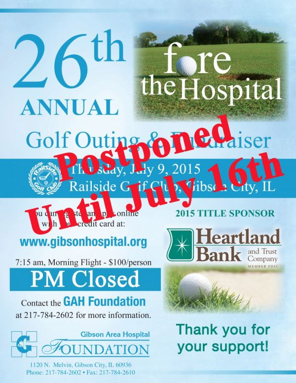 Golf Outing Postponed Until July 16, 2015