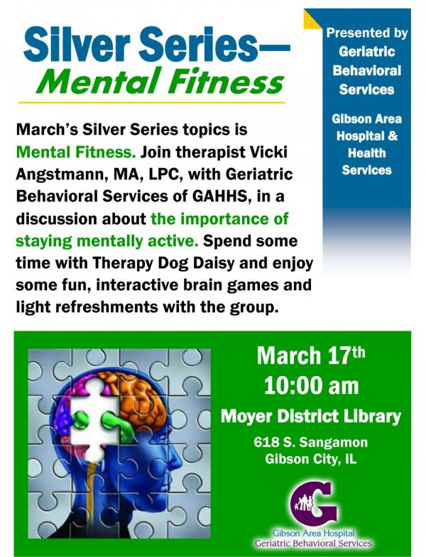 Gibson Area Hospital Silver Series Continues with Topic of Mental Fitness