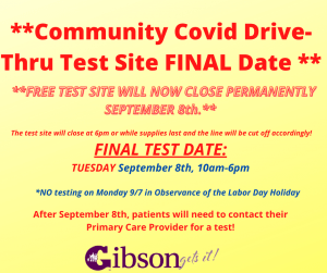 Community Covid Test Site CLOSED!
