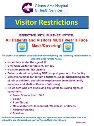 Visitor Restrictions Effective 11.17.2020